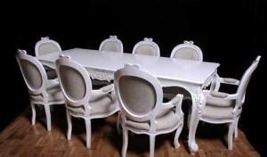 Meja Makan Putih Mewah 8 Kursi Klasik