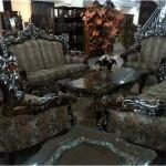 Sofa Tamu Romawi Mewah Ukiran Silver