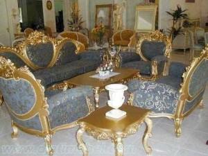 Sofa Tamu Ukiran Emas