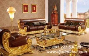 Set Sofa Tamu Ukiran Emas Terbaru