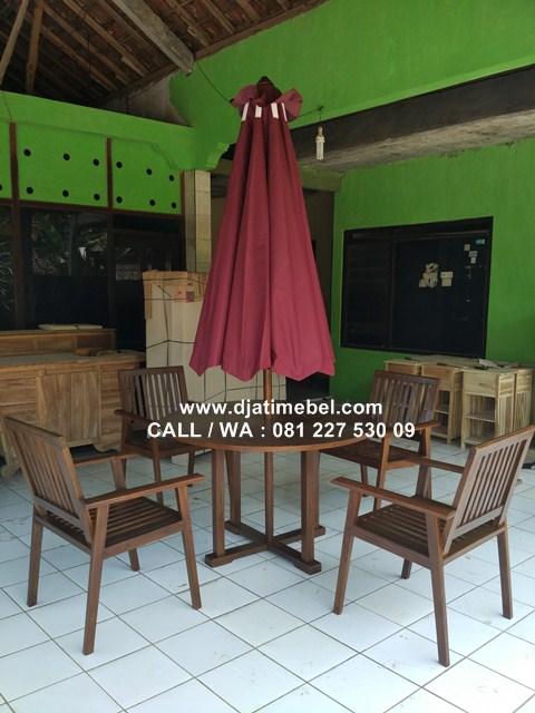 Meja Payung 4 Kursi Cafe Steaking Jati