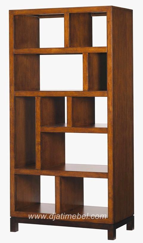 Rak Buku Jati Model Kotak Simpel