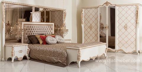 Set Kamar Tidur Kaca Mewah Duco Putih