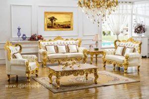 Set Kursi Sofa Tamu Mewah Ukiran Emas