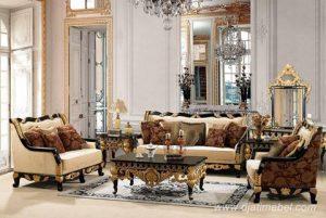 Sofa Ruang Tamu Ukiran Emas Klasik