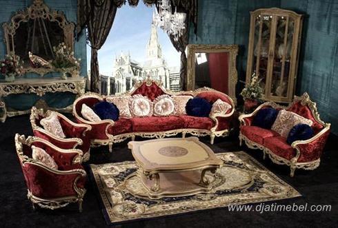 Sofa Tamu Klasik Mewah Ukiran Emas Luxury