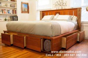 Tempat Tidur Full Laci Jati Mewah