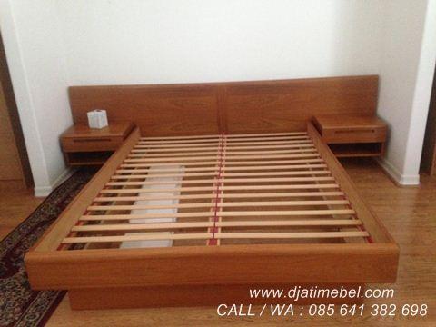 Tempat Tidur Minimalis Jati Brown Korea