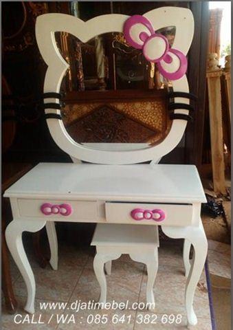 Meja Rias Hello Kitty Anak Warna Putih