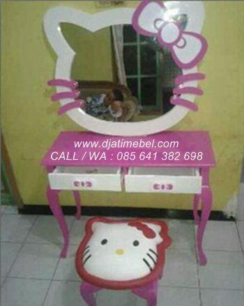 Meja Rias Hello Kitty Pink Ungu Cantik