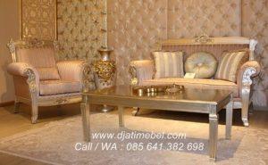 Set Kursi Tamu Sofa Mewah Aristokrat Silver