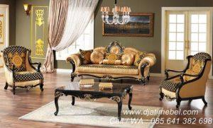 Set Kursi Tamu Sofa Mewah Hitam Doff