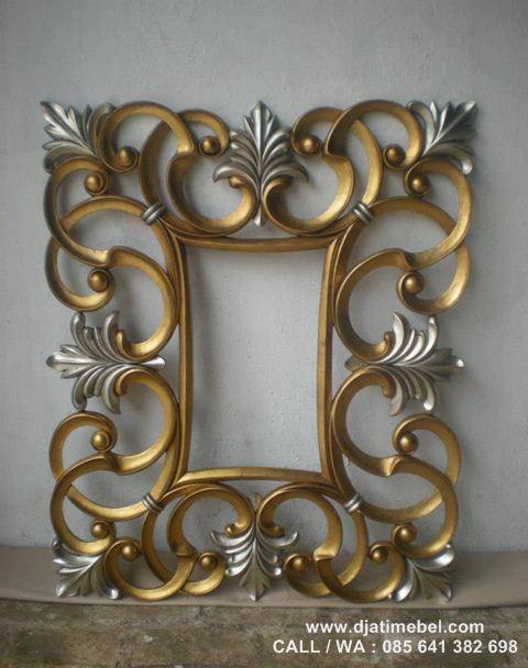 Cermin Jati Ukir Warna Emas Mewah