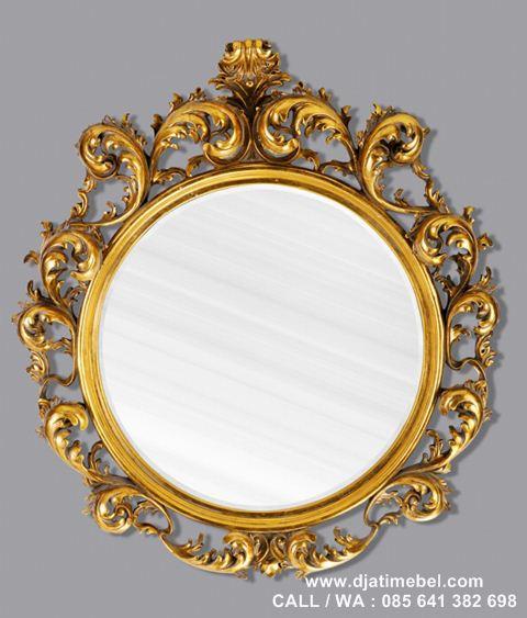 Pigura Cermin Ukir Emas Jati Mewah