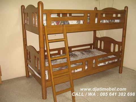 Gambar Ranjang Tidur Anak Tingkat Jati Mewah