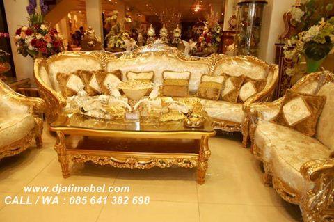 Gambar Set Kursi Tamu Sofa Ukiran Emas Celyne
