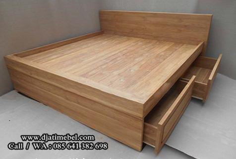 Tempat Tidur Minimalis Laci Jati