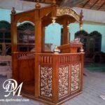 Mimbar Masjid Kayu Jati Ukir Natural