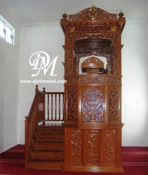 Mimbar Masjid Kubah Kanopi Tingkat Ukir