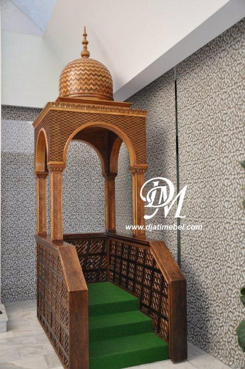 Mimbar Masjid Kubah Ukir Minimalis Kanopi