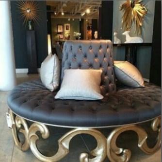 Sofa Busa Bundar Santai Ukir Emas