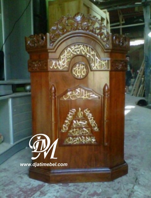 Mimbar Podium Masjid Ukir Kaligrafi