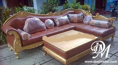 Sofa Tamu Ukiran Emas Model L