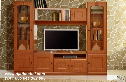 Set Bufet Tv Lemari Jati Solid