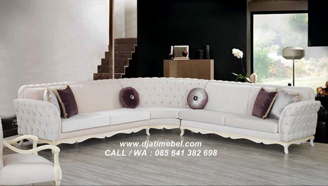 Sofa Sudut Chester Putih Mewah