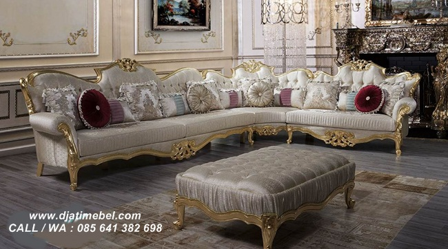 Sofa Tamu Sudut Klasik Carving Gold