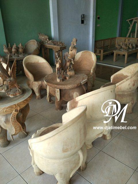Kursi Tamu Gajah Ukir Trembesi Terbaru