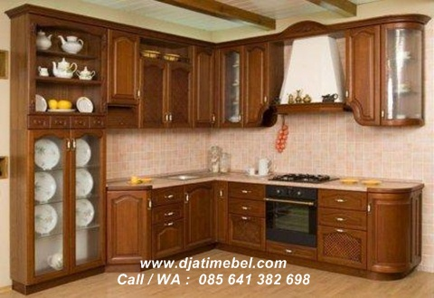 Set Kitchen Jati Model Lengkung Minimalis
