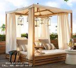 Ranjang Tidur Kanopi Outdoor Jati Solid