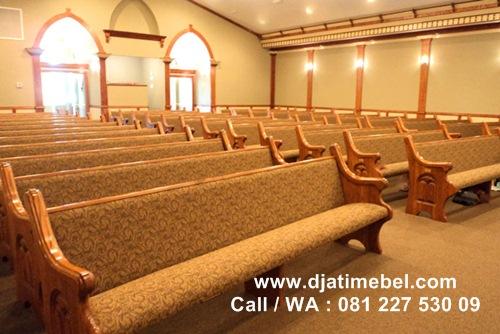 Bangku Gereja Jati Motif Bunga Mewah