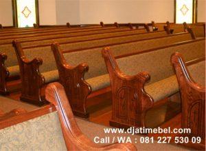 Bangku Gereja Kristen Full Jok Mewah Kayu Jati