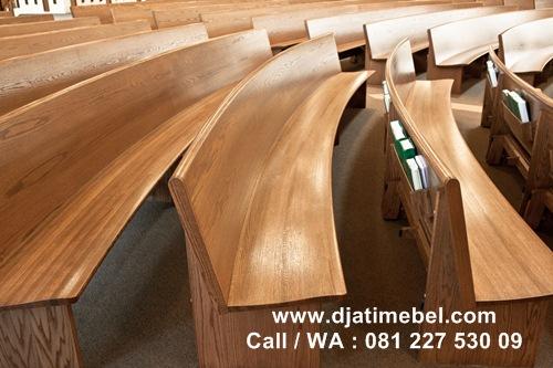 Bangku Gereja Kristen Minimalis Jati Solid