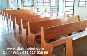 Bangku Gereja Kristen Minimalis Jati Spanyol