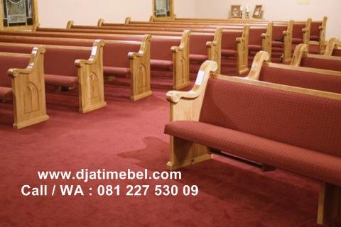 Bangku Gereja Minimalis Jati Solid