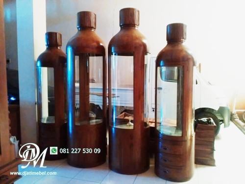 Lemari Botol Hias Kayu Jati Minimalis