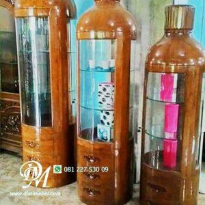 Lemari Pajangan Hias Botol Jati Minimalis