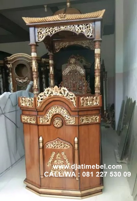 Mimbar Masjid Kubah Ukiran Mewah Jati Solid