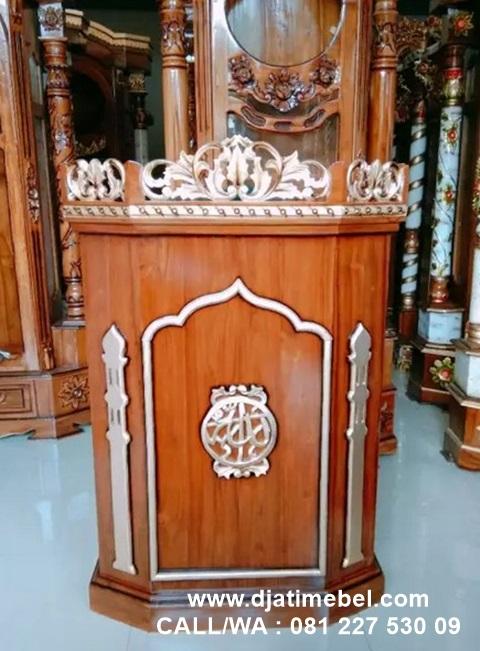 Podium Masjid Ukir Emas Jati Klasik
